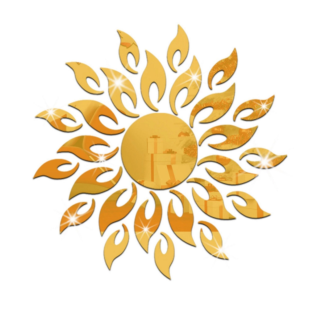 Removable 3D Sun Pattern Mirror Surface Wall Sticker Gold