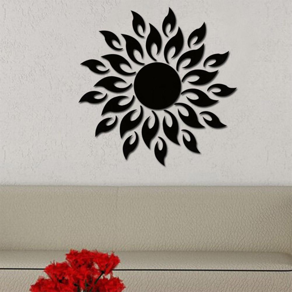 Removable 3D Sun Pattern Mirror Surface Wall Sticker black