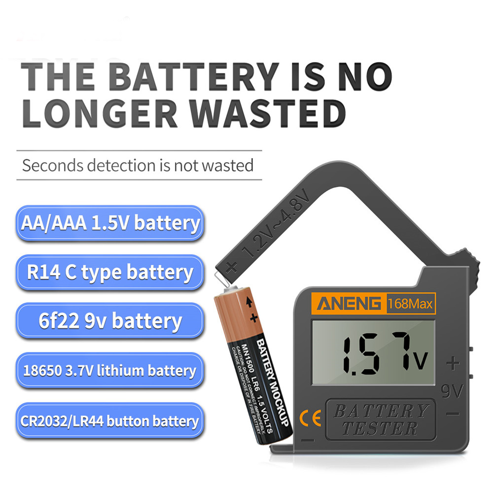 ANENG 168Max Digital Lithium Battery Capacity Tester Universal Test Checkered Load Analyzer Display Check AAA AA Button Cell BGD0071