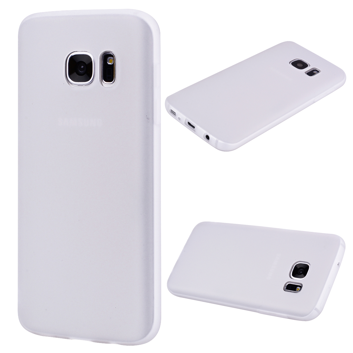 for Samsung S7 Cute Candy Color Matte TPU Anti-scratch Non-slip Protective Cover Back Case white