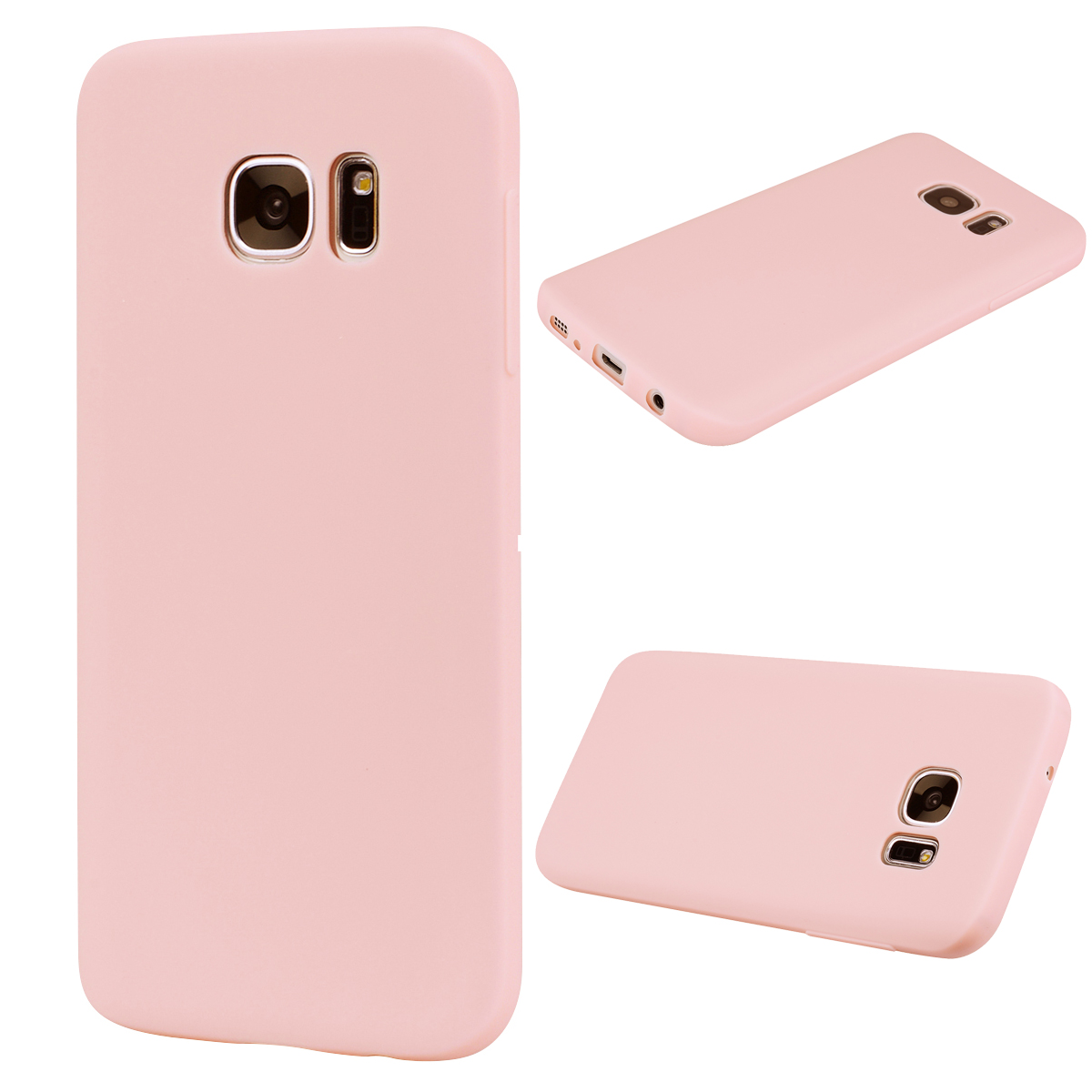 for Samsung S7 Cute Candy Color Matte TPU Anti-scratch Non-slip Protective Cover Back Case Light pink