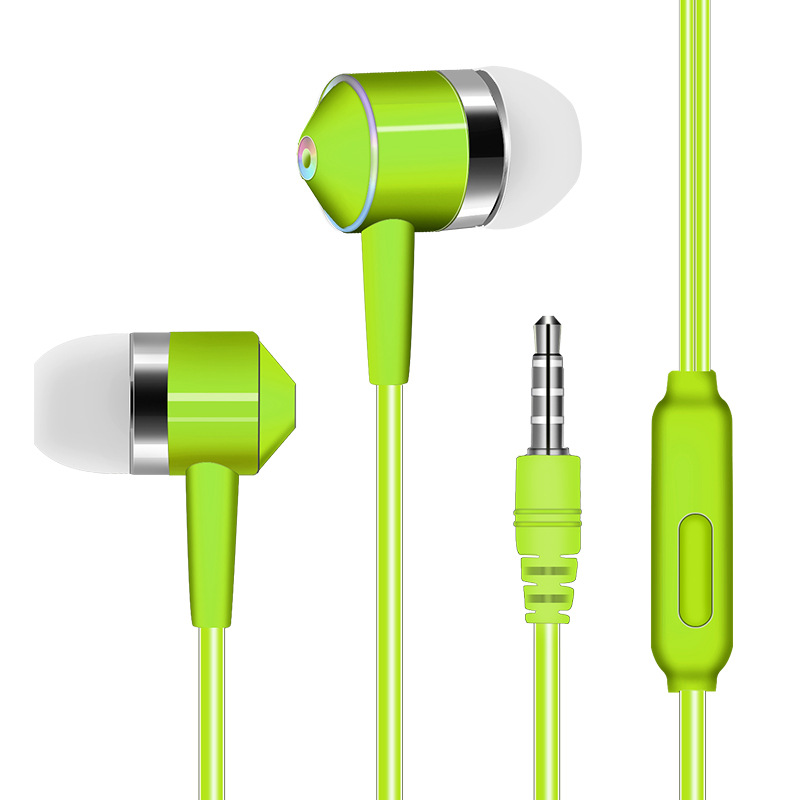 3.5mm Earphone In-ear Stereo 1.2m Wired Headset with Mic Compatibility Smartphones  green