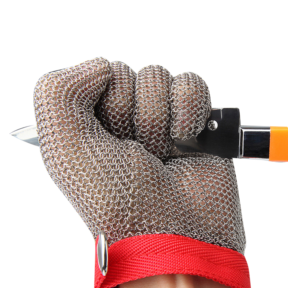 1pc Grade 5 Protective Glove Stainless Steel Mesh Resistant Chain Mail Chain Glove Left Right Hand Universal Red wristband_M