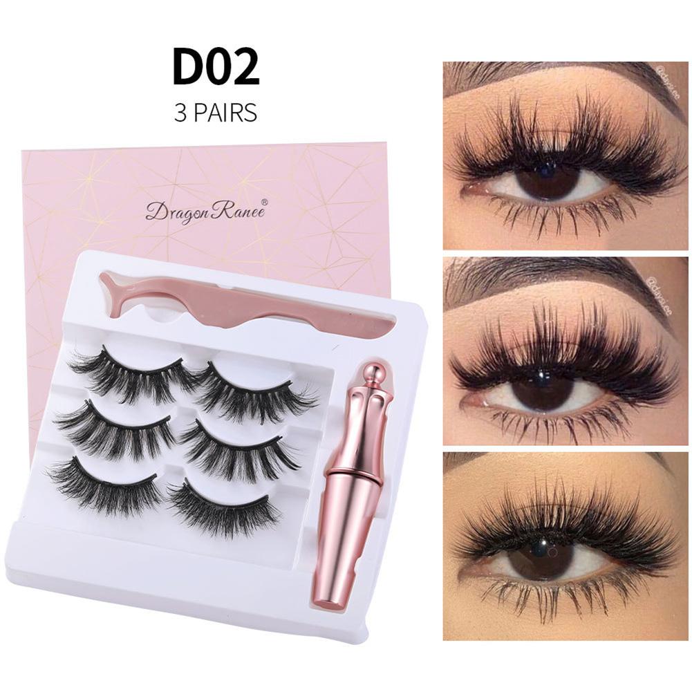 Magnetic Eyelash + Liquid Eyeliner set Magnetic False Eyelashes Tweezer Set Eyelash Extension Tools D02