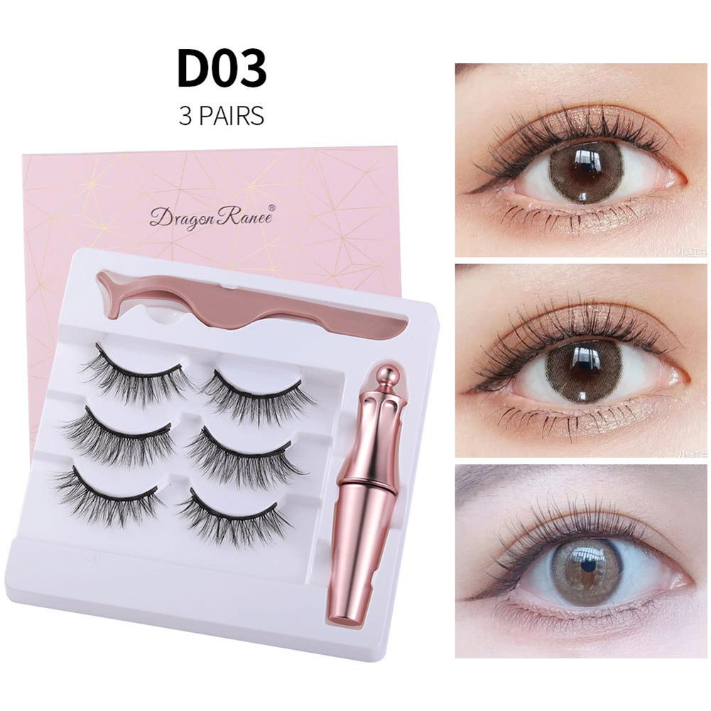 Magnetic Eyelash + Liquid Eyeliner set Magnetic False Eyelashes Tweezer Set Eyelash Extension Tools D03