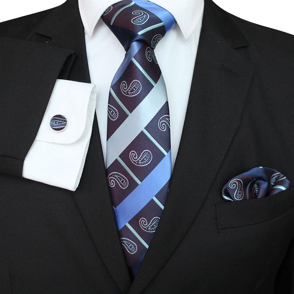 Men Business Classic Polyester Silk Tie Necktie Set Necktie + Kerchief + Cuff-link Set #-2