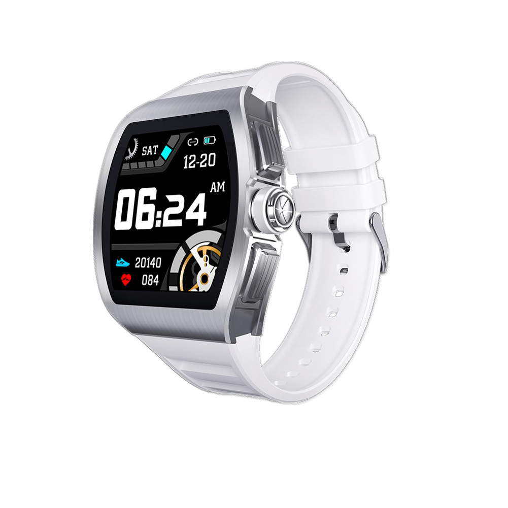 M1 Business Smart Watch Man Waterproof Smartwatch Heart Rate Blood Presssure Monitor Sports Track Clock white