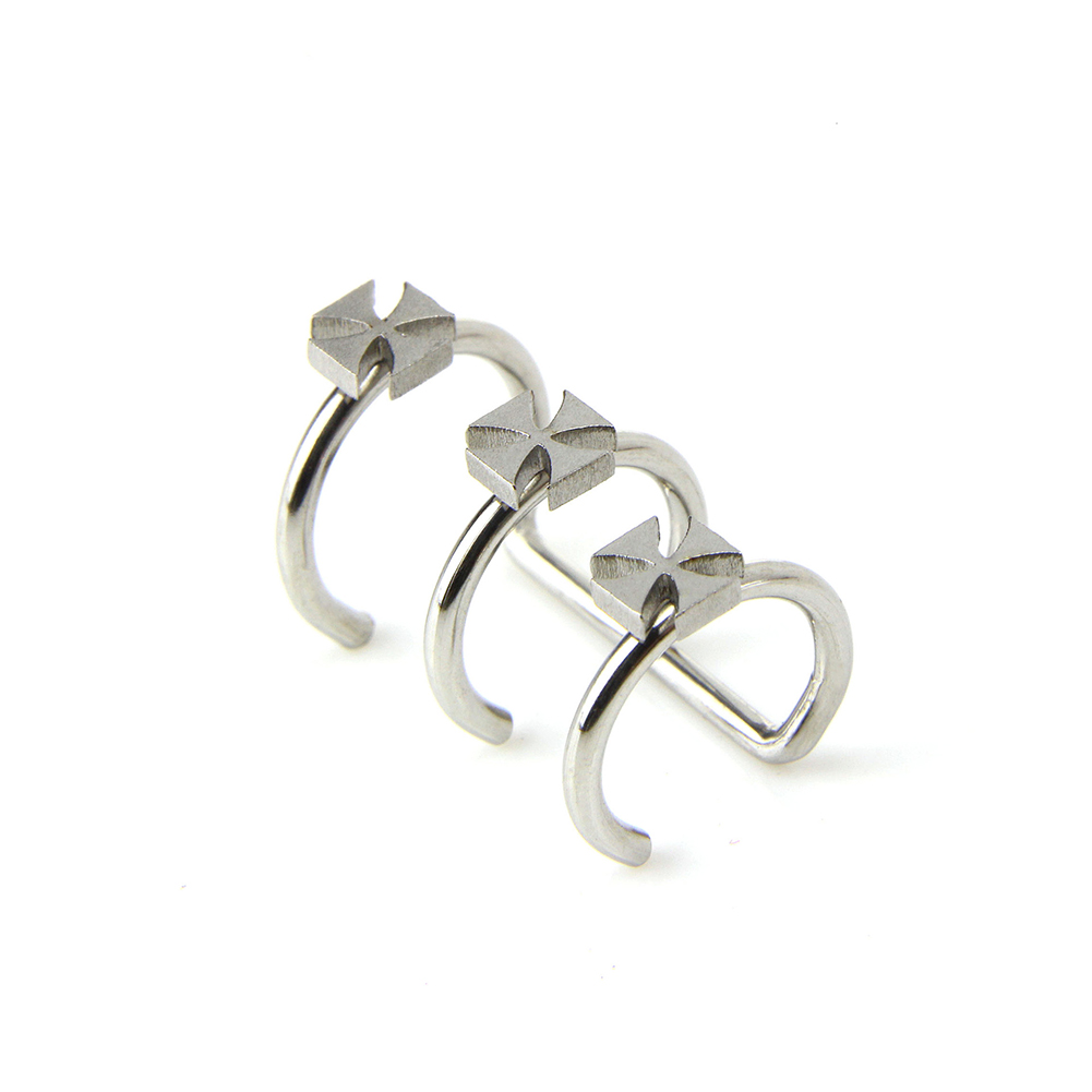 Unisex Earless Holes Stainless Steel Cross Design Cartilage Earrings Jewelry
