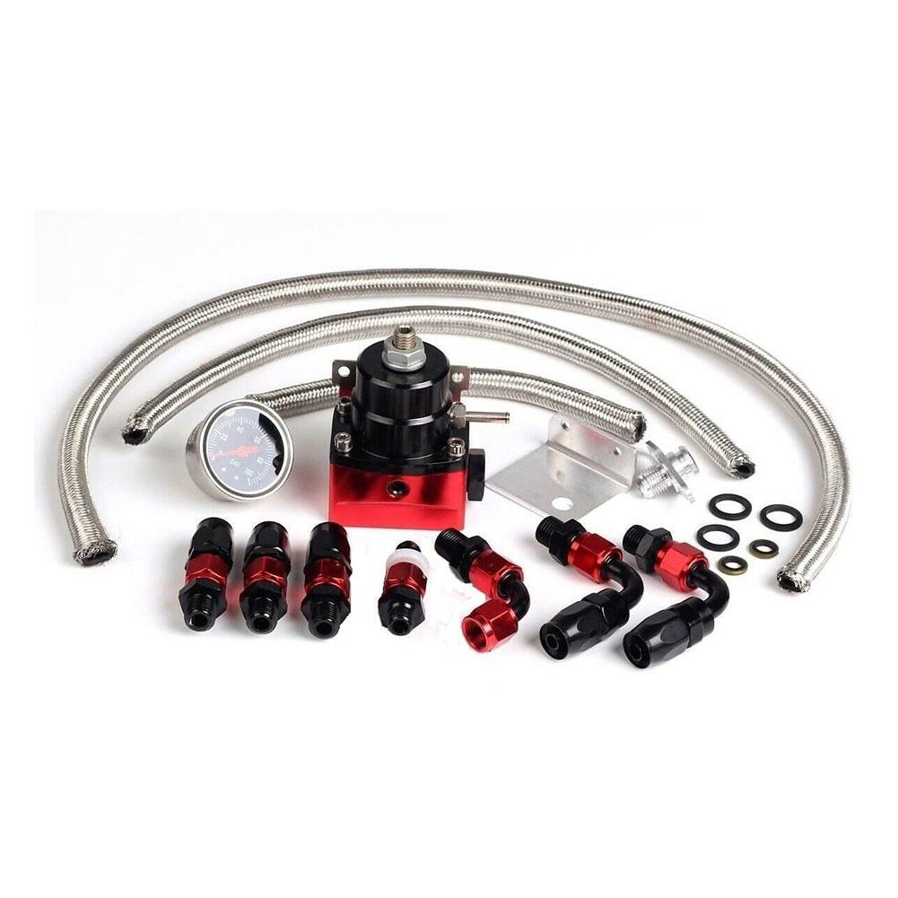 Universal Adjustable Fuel Pressure Regulator Oil Gauge PSI Adjustment Black red