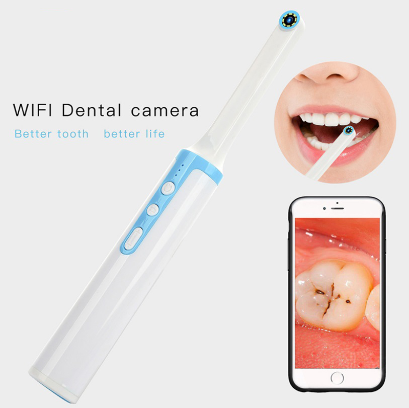 P10 Endoscope WiFi Dental Camera HD Intraoral Endoscope LED Light Dentist Inspection Tool Oral Real-time Video Support for Android/iOS/Tablet/Windows Blue+white