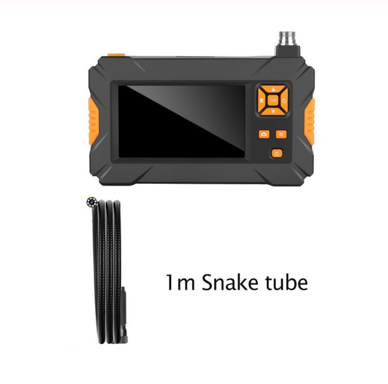 Industrial Endoscope Hand-held Borescope Inspection Camera 4.3inch HD 1080P Display Screen Built-in 8 LEDs 8mm Lens 2600mAh Rechargeable Lithium Battery 1m pipe