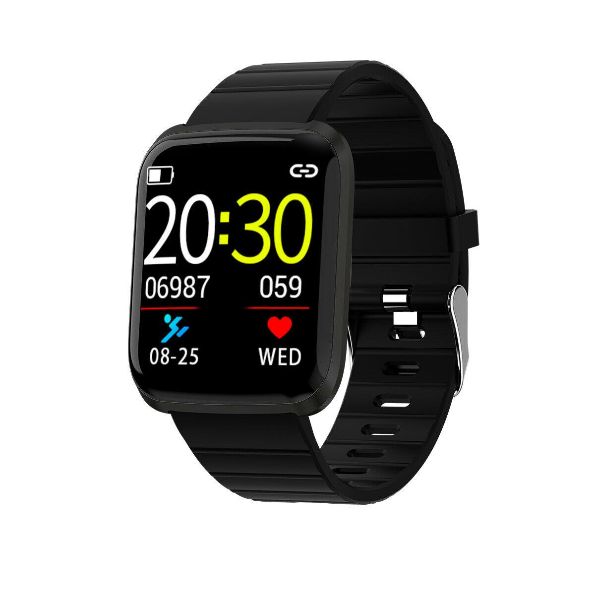 HD Color Screen 116pro Smart Watch Bracelet Wristband Fitness Tracker Blood Pressure Heart Rate Monitor black