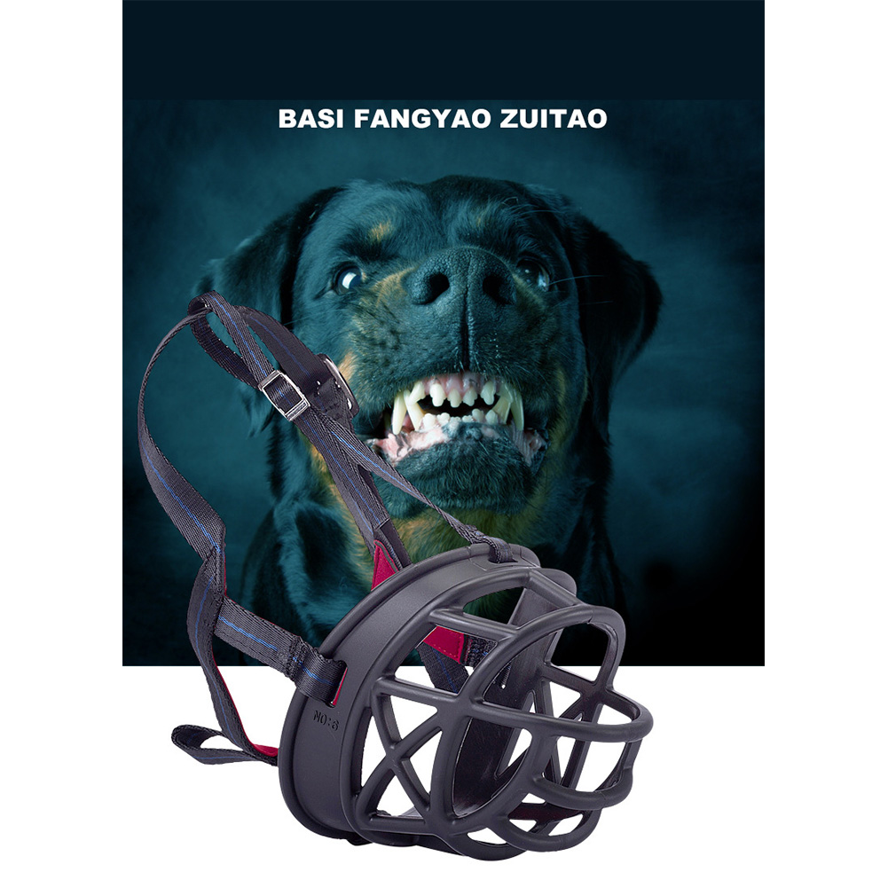 Adjustable Metal Buckle Mask Nylon Pet Dog Muzzle Anti Bark Bite Chew Safety for Training Black metal buckle_5 #
