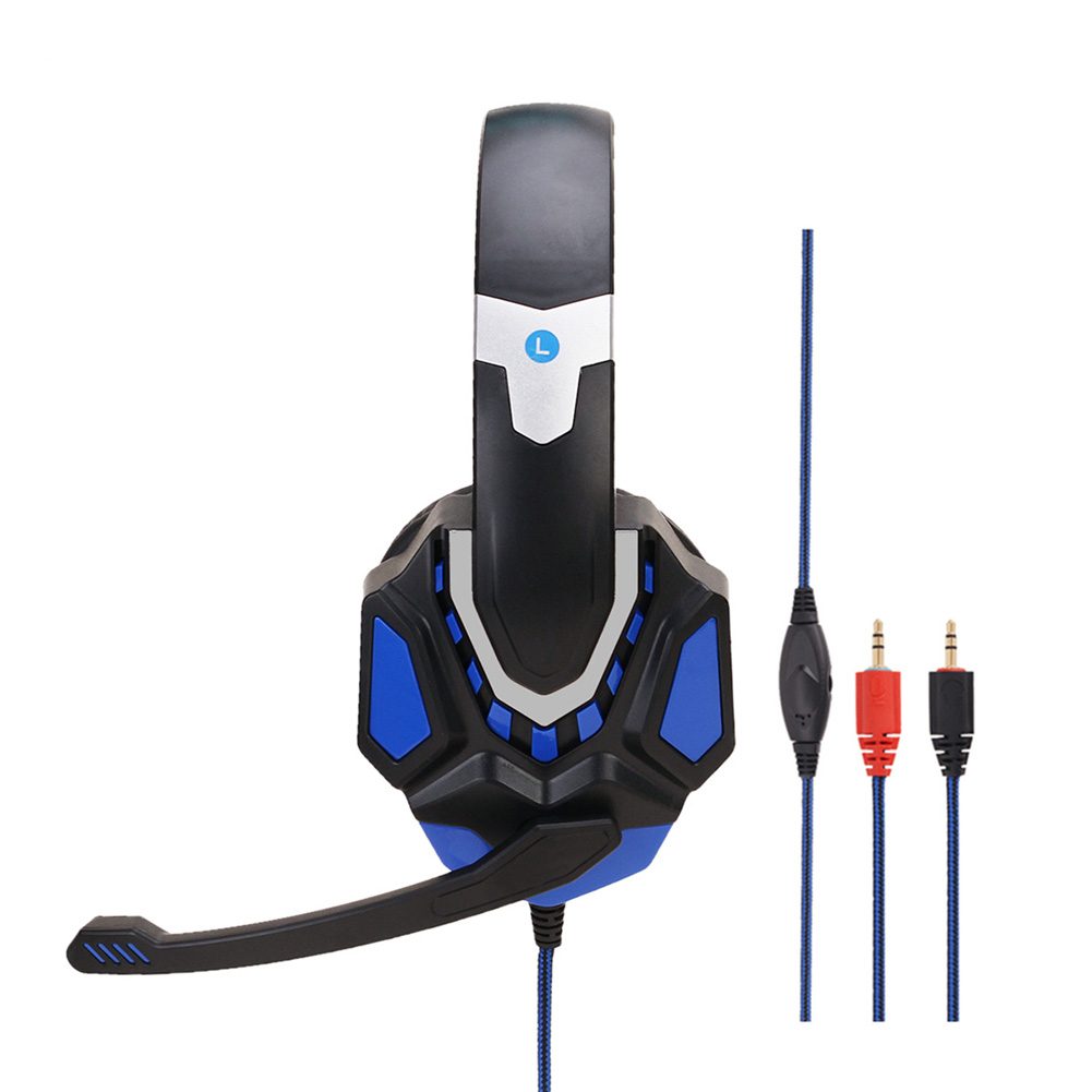 Non-lighting Gaming Headset Internet Cafe Headphone for PS4 Gaming Computer Switch Black blue PC