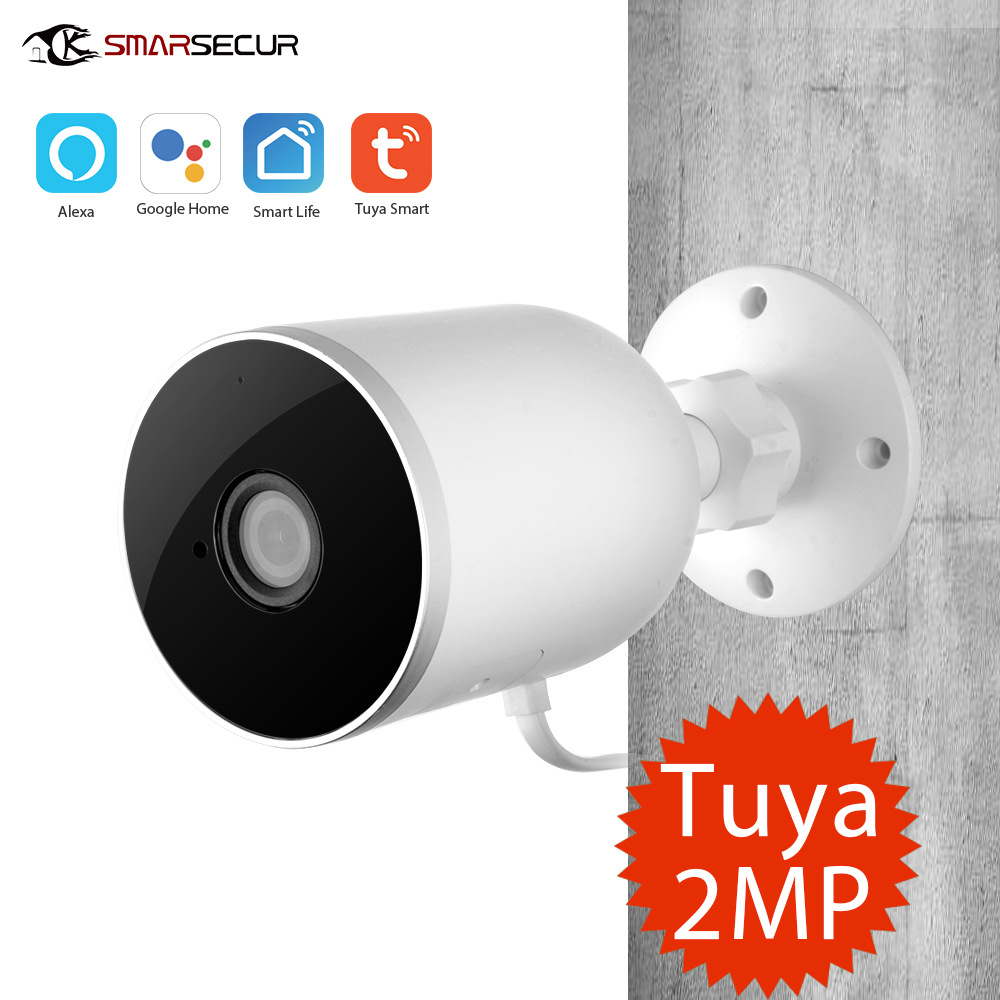 Smart WiFi IP Camera Outdoor Waterproof Wireless 1080P Two Way Audio Tuya Smart Life Motion Sensor European Plug