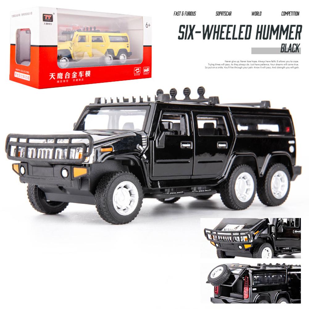 1:32 Car Model for Hummer H2 Off-road High Simulation Alloy Car Model Sound And Light Pull Back Door Boy Car Toy For Children Gifts black