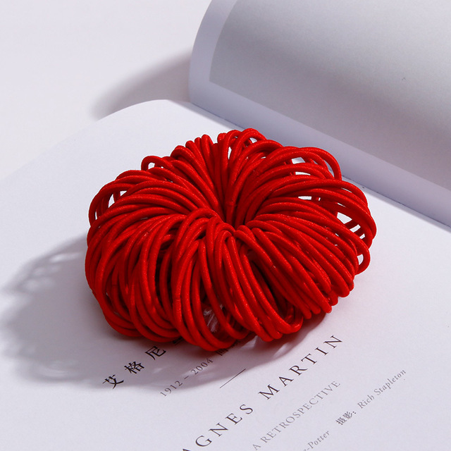 100 Pcs Hair Rope Cute Elastic Hair Ring Headband for Girls red
