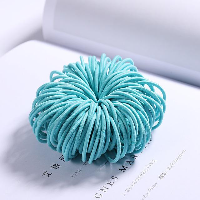 100 Pcs Hair Rope Cute Elastic Hair Ring Headband for Girls sky blue