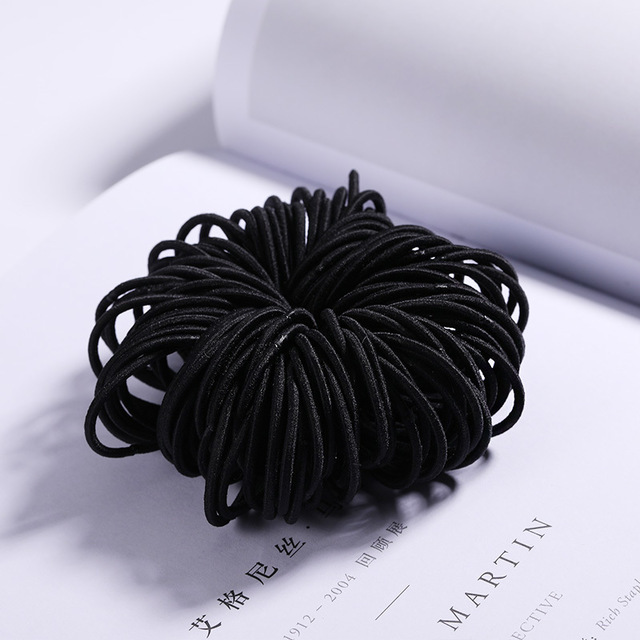 100 Pcs Hair Rope Cute Elastic Hair Ring Headband for Girls black