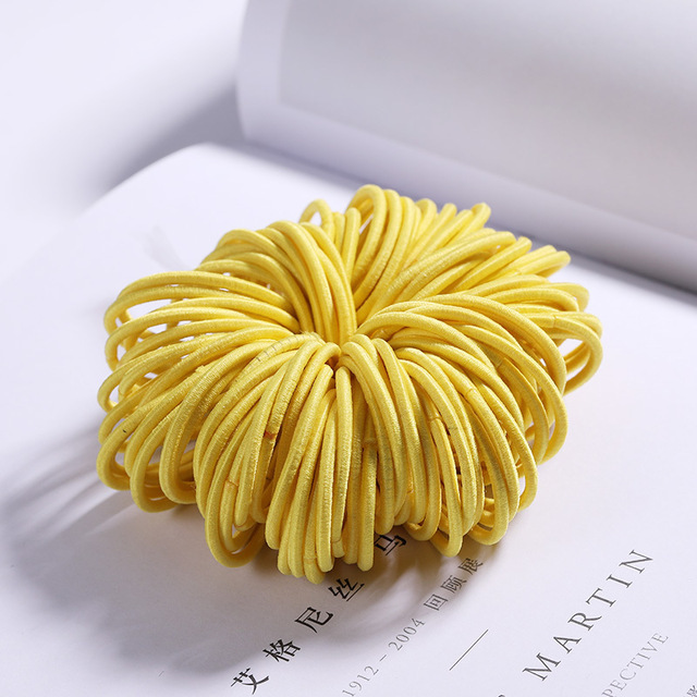 100 Pcs Hair Rope Cute Elastic Hair Ring Headband for Girls yellow