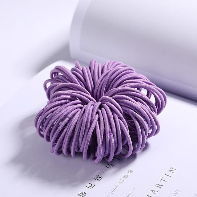 100 Pcs Hair Rope Cute Elastic Hair Ring Headband for Girls purple