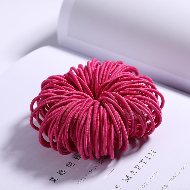 100 Pcs Hair Rope Cute Elastic Hair Ring Headband for Girls rose Red