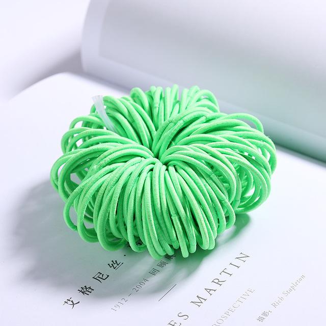 100 Pcs Hair Rope Cute Elastic Hair Ring Headband for Girls green