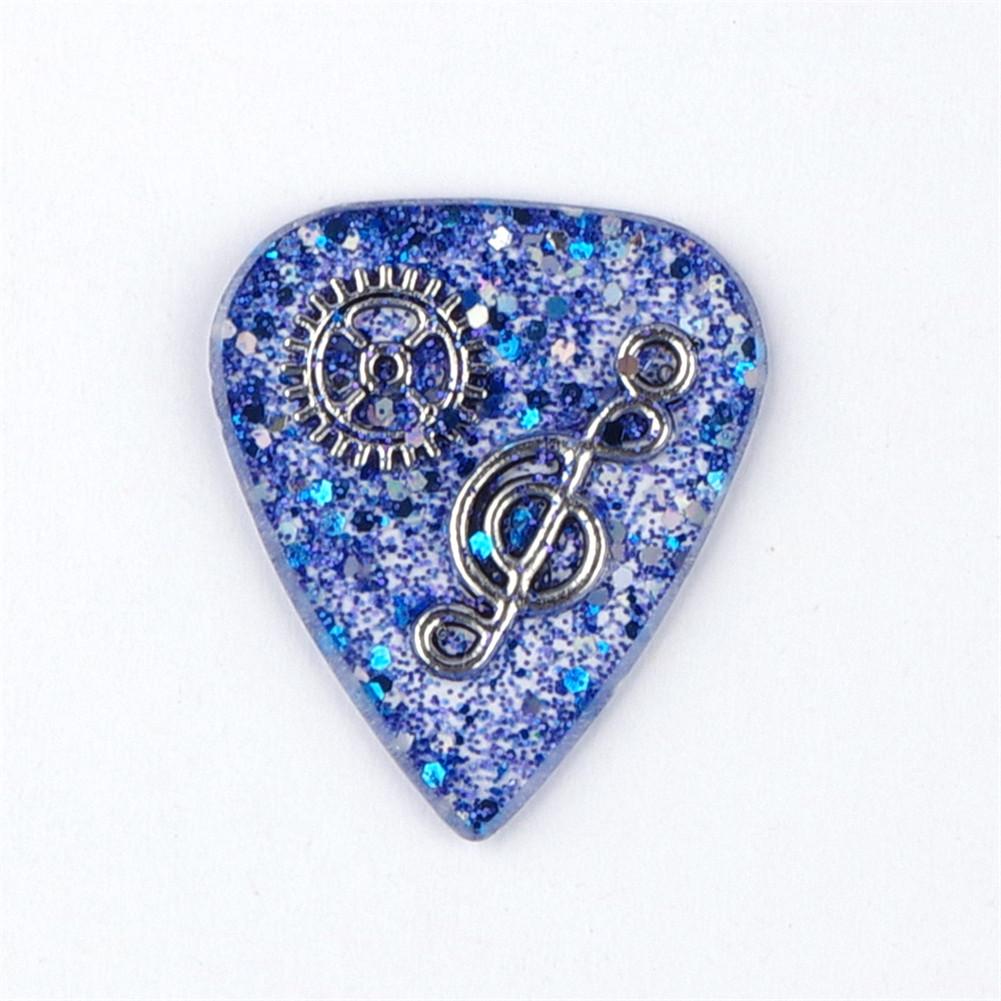 Handmade Guitar Pick Transparent Exquisite DIY Guitar Pick Necklace Thickness 1.5mm Resin Metal 3*2.5*0.15cm Blue note