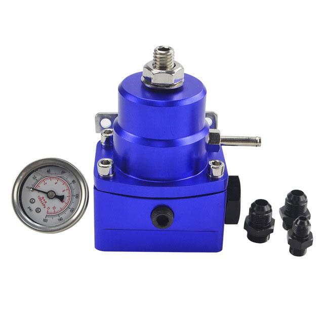 AN8 High Pressure Fuel Regulator W / Boost-8AN 8/8/6 EFI with Reinforcement blue