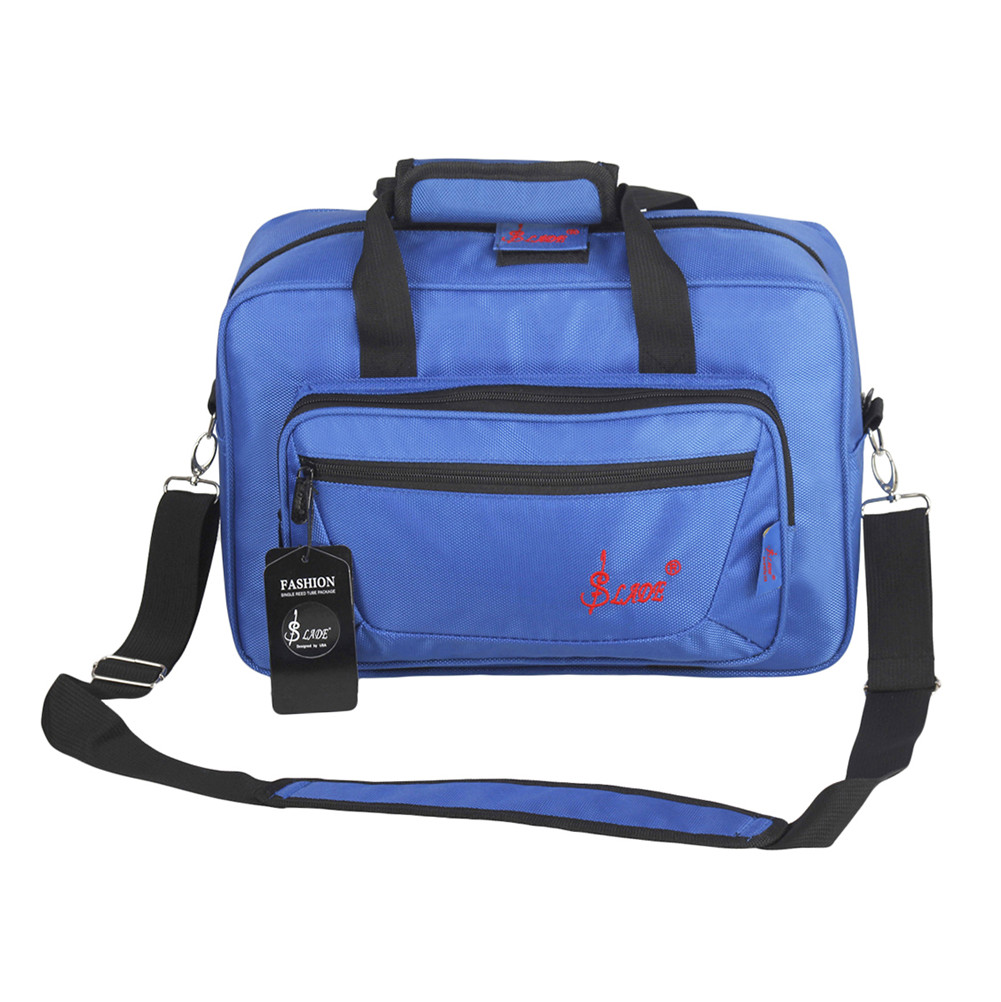 Universal Oboe Clarinet Carrying Bag Backpack Case Soft Clarinet Bag Sponge Padding with Shoulder Strap blue