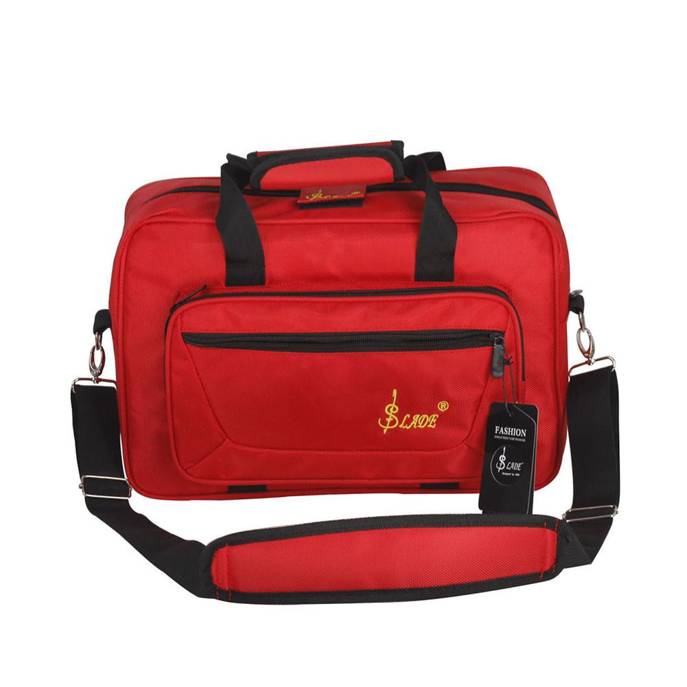 Universal Oboe Clarinet Carrying Bag Backpack Case Soft Clarinet Bag Sponge Padding with Shoulder Strap red