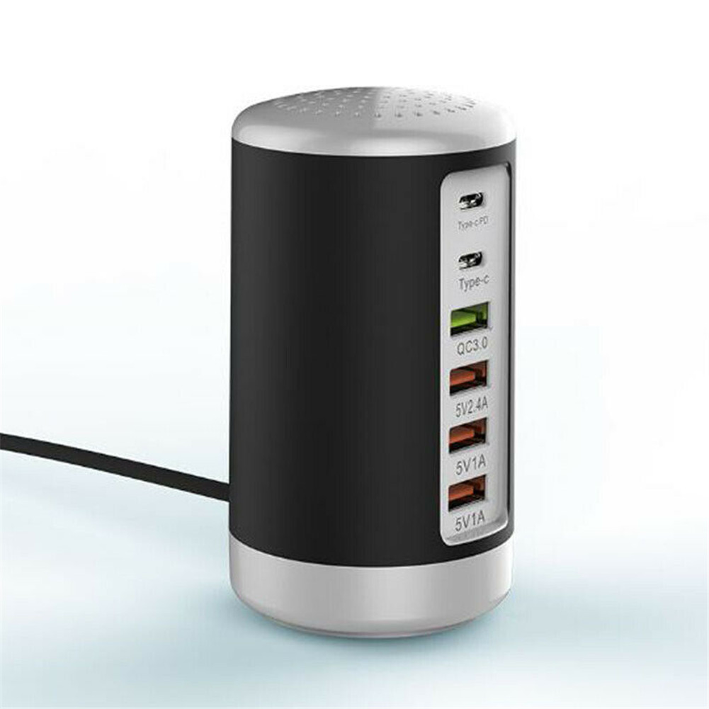 65WPD High Power Fast Charge QC3.0 + PD Fast Charge 6-port USB Smart Charger US Plug black