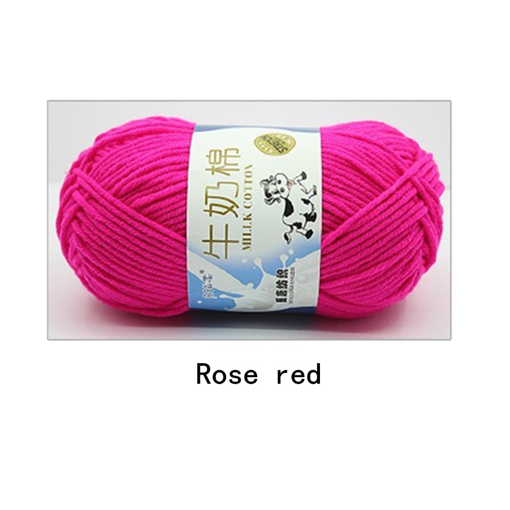 Hand Knitting Cotton Knitting Wool Doll Thread for Knitting Scarves Gloves Clothes Rose pink