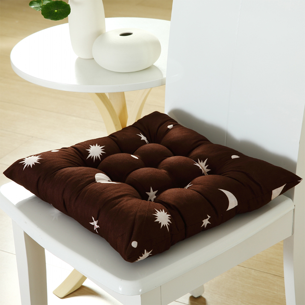 Stars Moon Printing Chair Cushion Seat Pad with Cotton Filling 40X40CM Brown