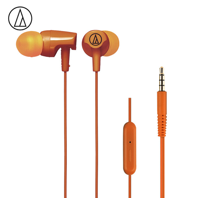 Original Audio Technica ATH-CLR100iS Wired Earphone Ergonomic Sport Headset Remote Control Headphone Compatible With Android/iOS Cellphone Orange