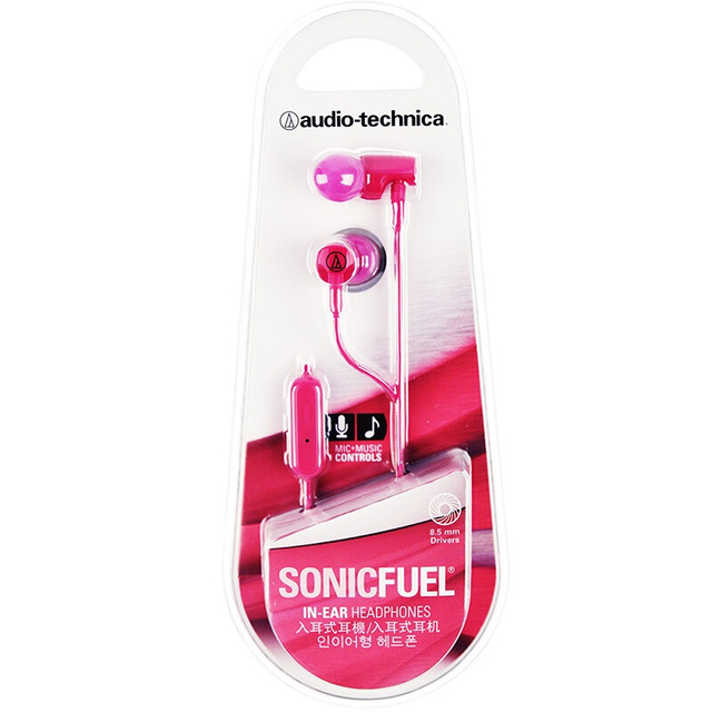 Original Audio Technica ATH-CLR100iS Wired Earphone Ergonomic Sport Headset Remote Control Headphone Compatible With Android/iOS Cellphone Pink