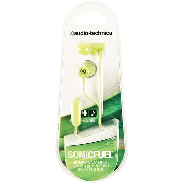 Original Audio-Technica ATH-CLR100iS Wired Earphone Ergonomic Sport Headset Remote Control Headphone Compatible With Android/iOS Cellphone Green