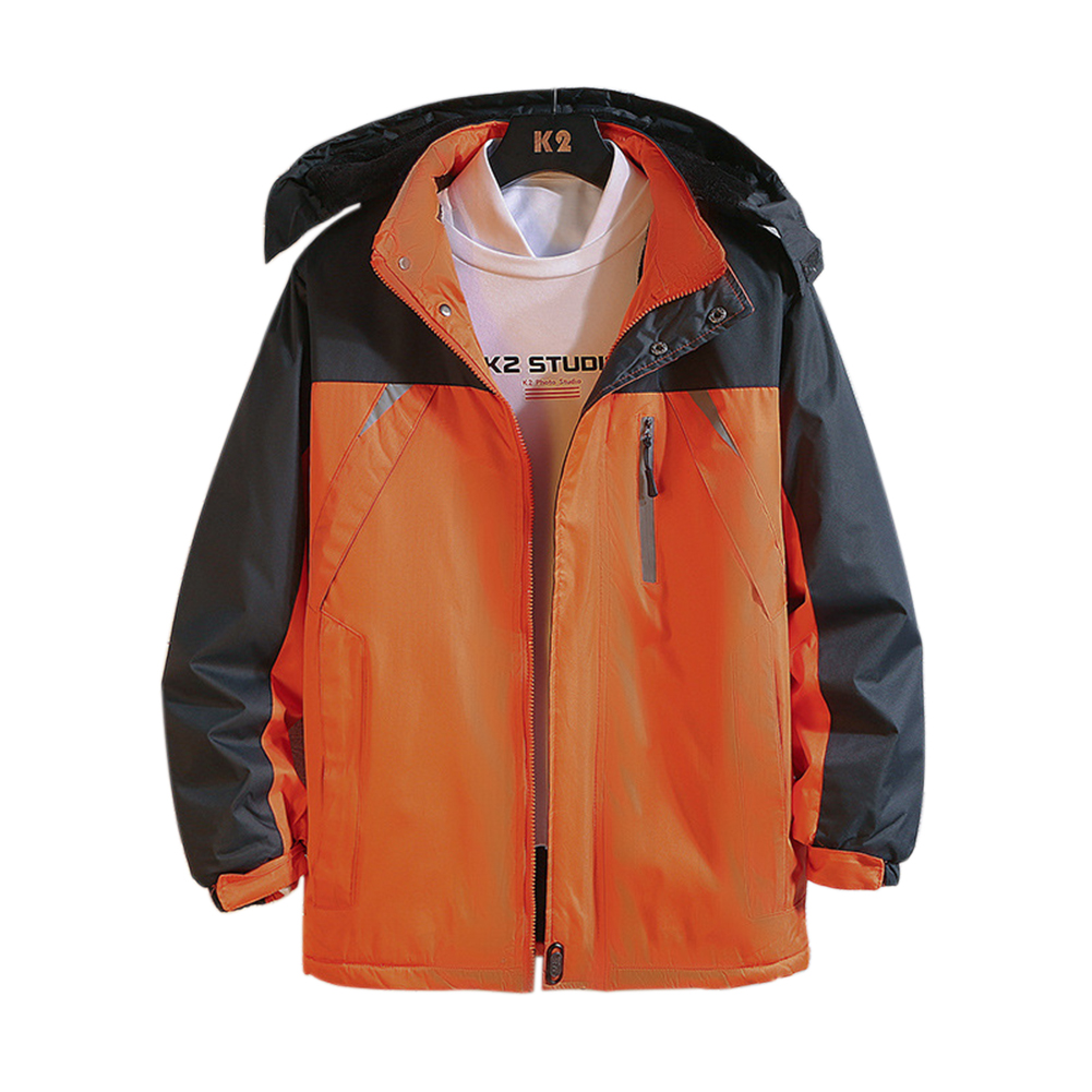 Men's and Women's Jackets Winter Windproof and Rainproof Thickening Outdoor Mountaineering Clothes Reflective orange_M