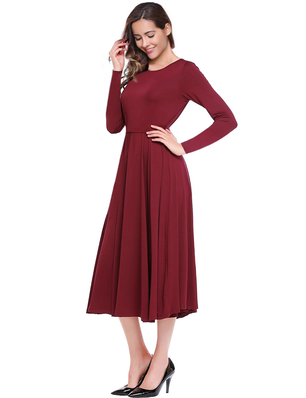 Leadingstar Women's Long Sleeve Midi Dress