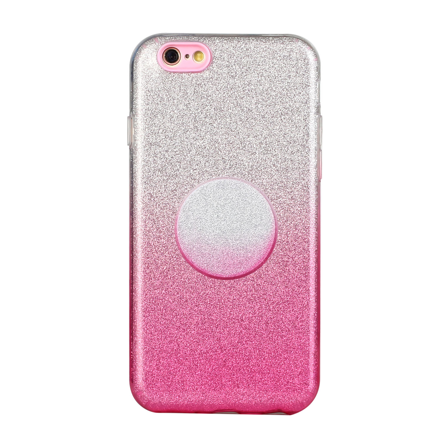 For iphone 6/6S/6 plus/6S plus/7/8/SE 2020 Phone Case Gradient Color Glitter Powder Phone Cover with Airbag Bracket Pink