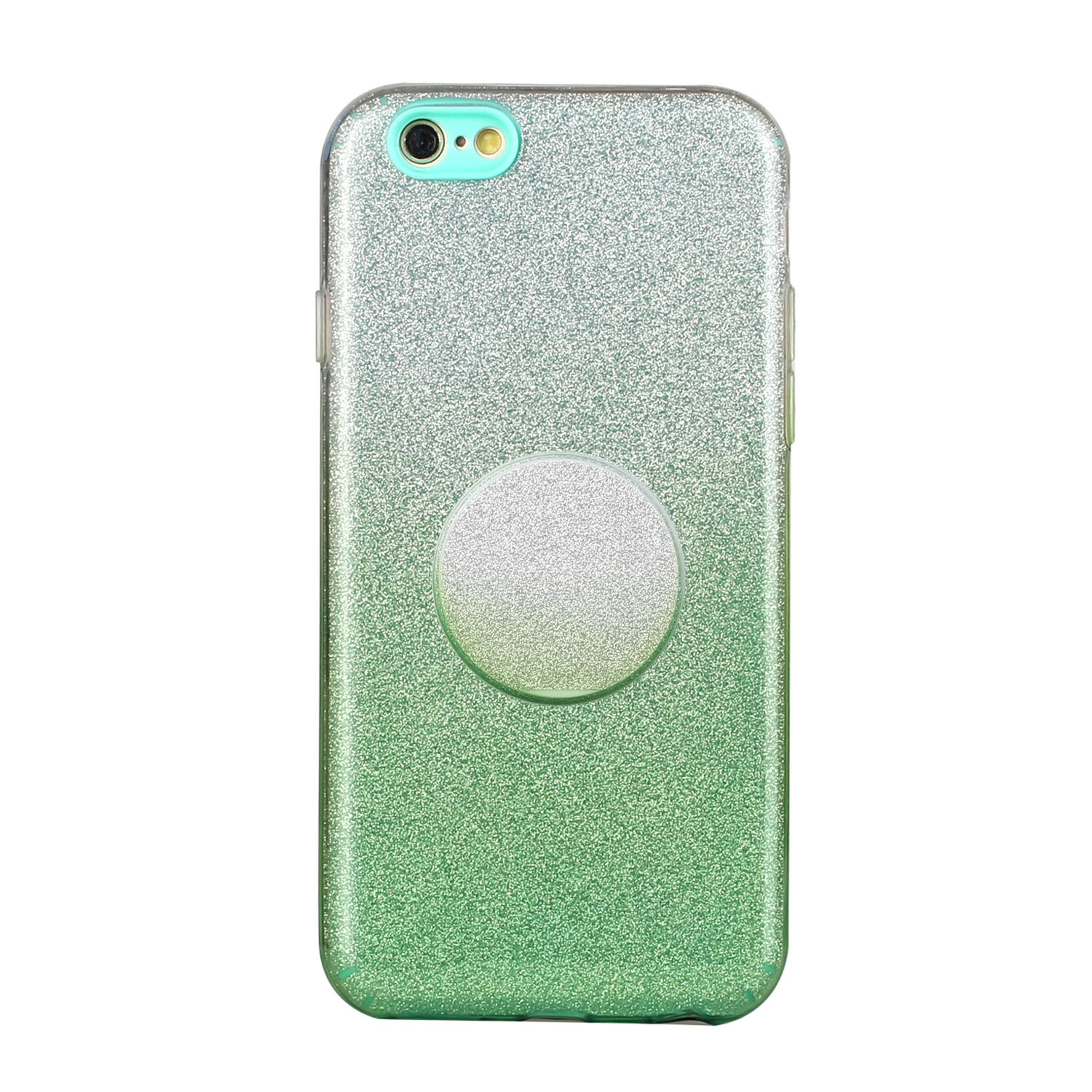 For iphone 6/6S/6 plus/6S plus/7/8/SE 2020 Phone Case Gradient Color Glitter Powder Phone Cover with Airbag Bracket green
