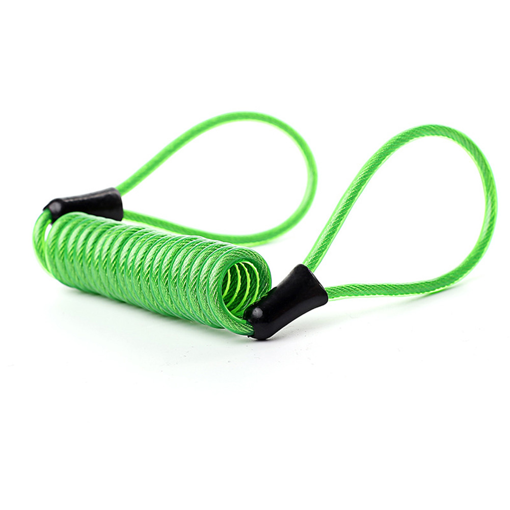 Wire Rope Spring Retractable Colorful Rubber Coating Portable Safety Elastic Motorcycle Helmet Anti-theft Rope 1.2Meter green