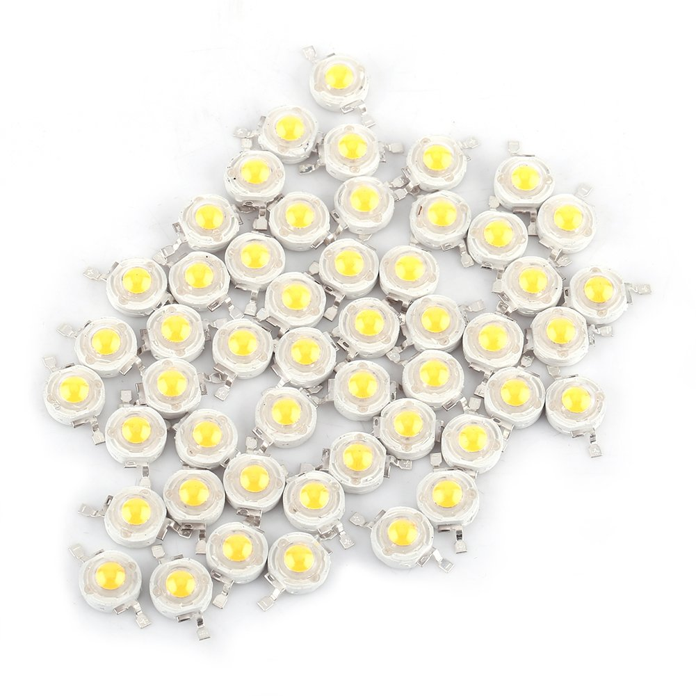 50pcs LED 1W Diode White Light 110-120 Lumens High Power Two-electrode Valve Beads 50