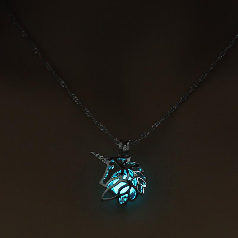 Luminous Alloy Open Cage Mermaid Skull Head Necklace DIY Pendant Halloween Glowing Jewelry Gift NY250-Unicorn