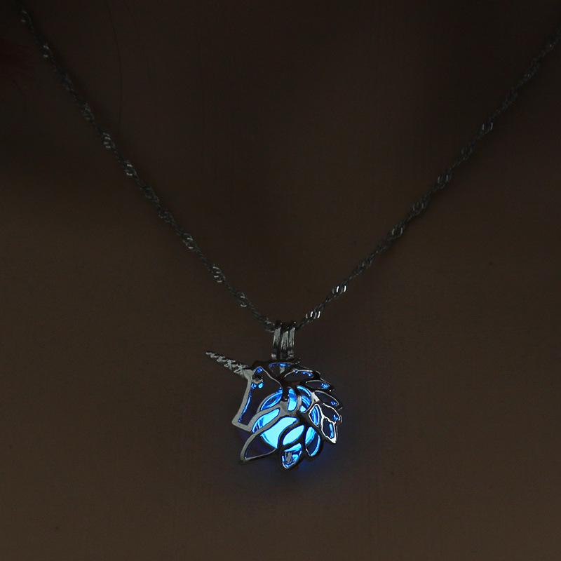 Luminous Alloy Open Cage Mermaid Skull Head Necklace DIY Pendant Halloween Glowing Jewelry Gift NY251-Unicorn