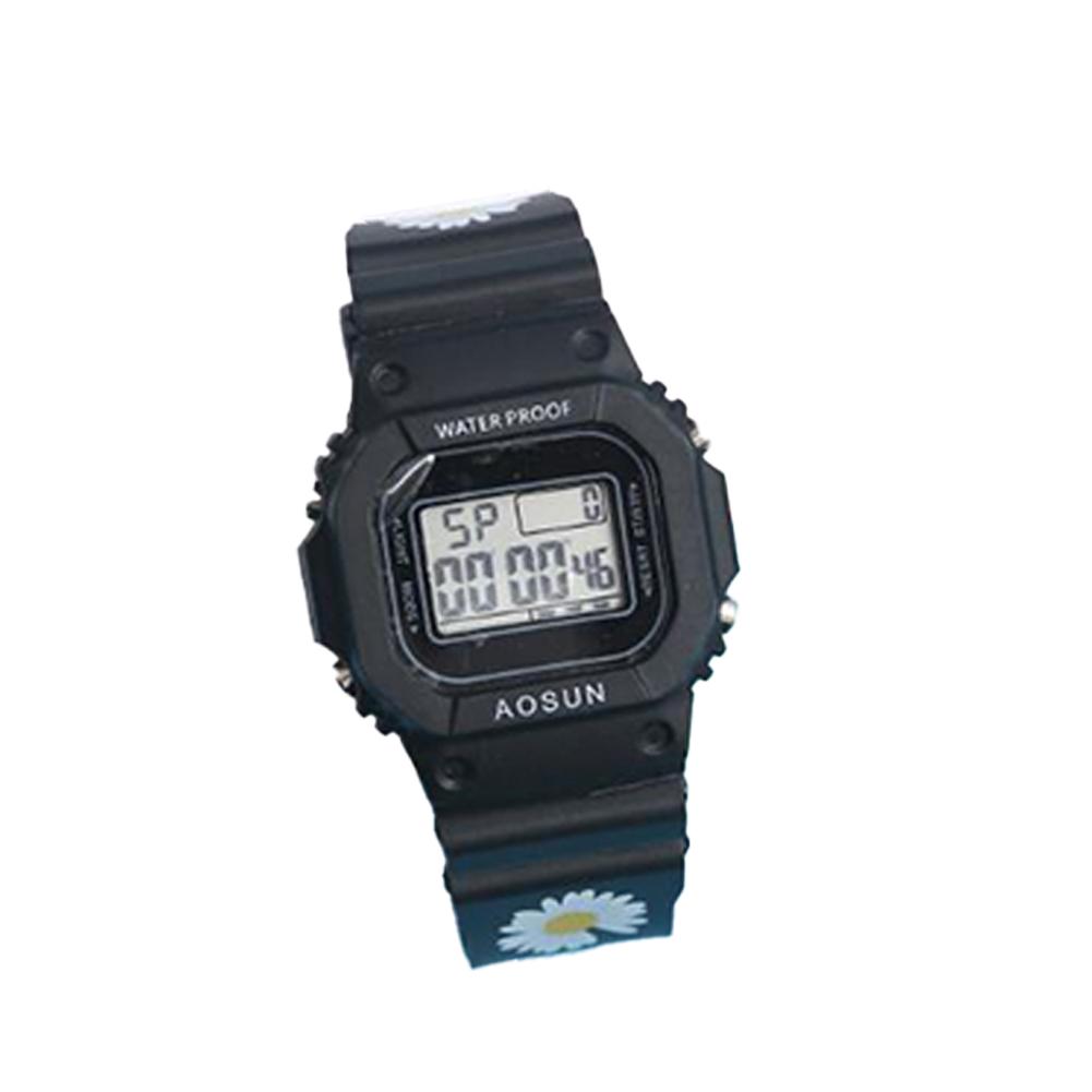 Electronic Watch Small Daisy Luminous Silicone Led Watch Watch black