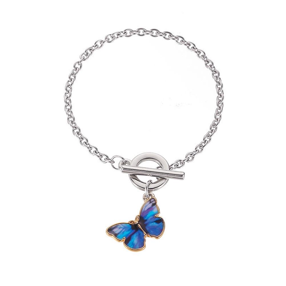 Women's Necklace Gradient Butterfly-shape Clavicle Chain Bracelet 03 dark blue
