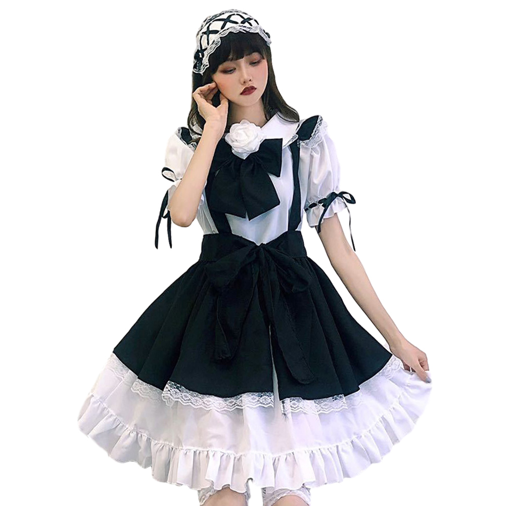 Women Lolita Maid Dress Black Apron Headdress Hair Band Bowknot Set 5pcs/set_L