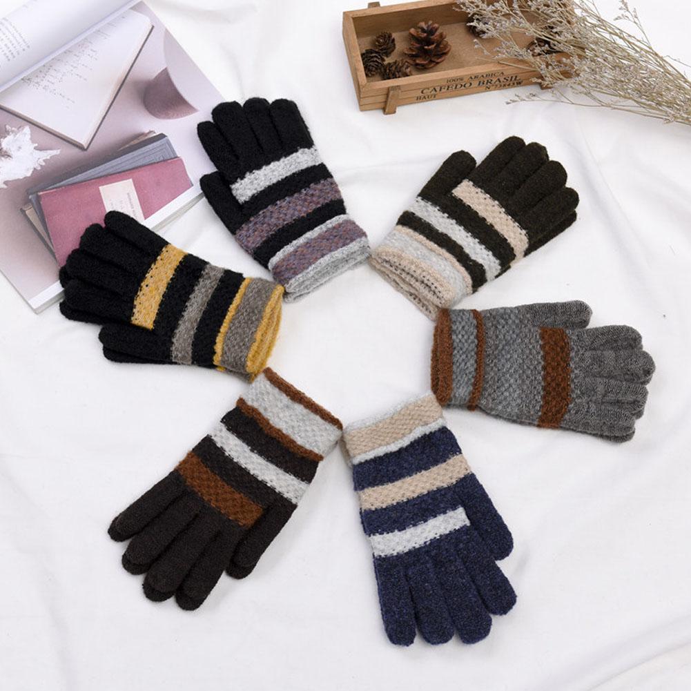Men Women Strip Thickening Knitted Full Finger Warm Gloves for Winter Preventing Cold men_free size