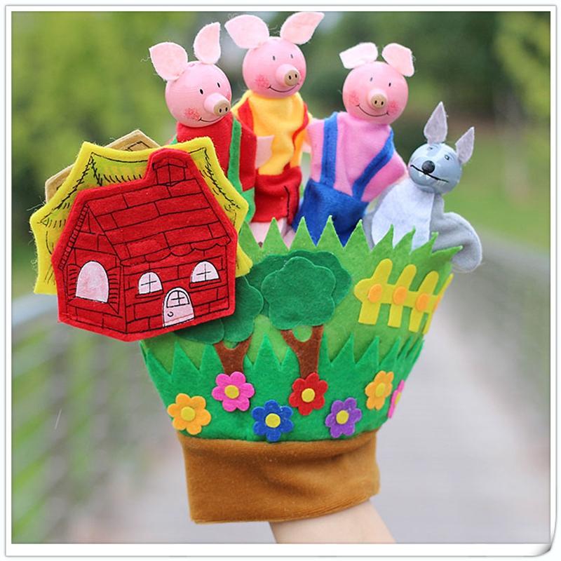 [EU Direct] Three Little Pigs Educational Puppets Finger Puppet Hand Glove